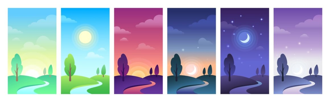 Countryside landscape in parts of day time. Sky and field daytime circle as sunrise, noon, sunset and night