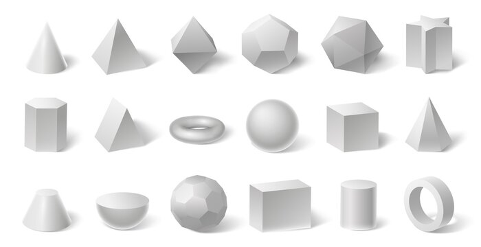 White geometric 3d shapes. Geometry form for education. Hexagonal and triangular prism, cylinder and cone