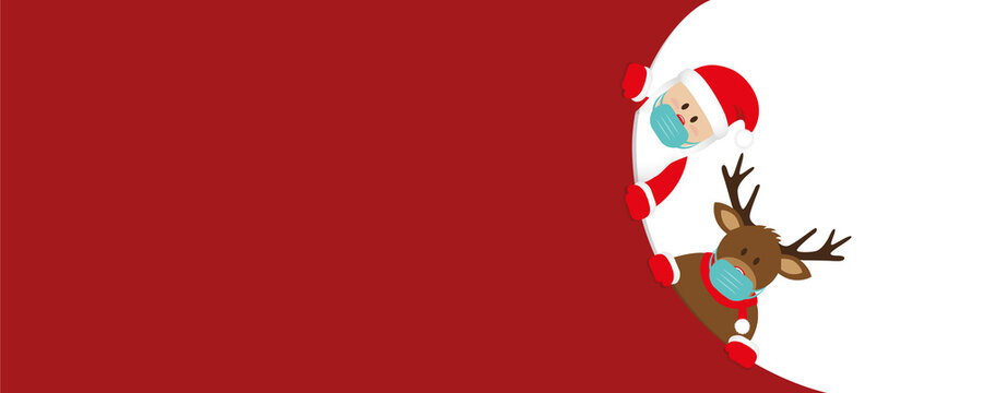 red christmas banner with cute santa claus and deer with face mask vector illustration EPS10