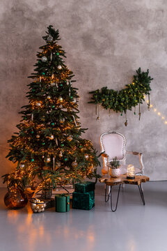 Christmas living room interior with Christmas tree, gifts and lights