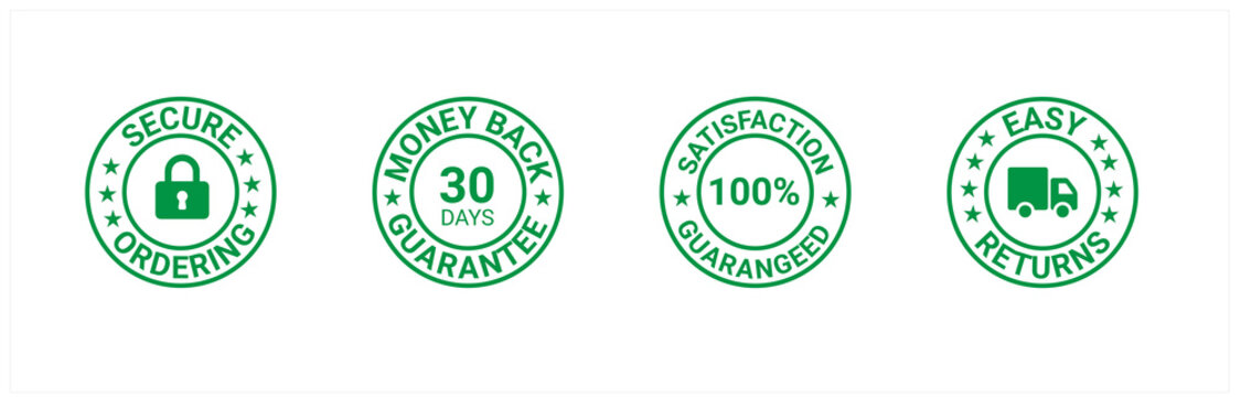 Money back guarantee, Free Shipping Trust Badges ,Trust Badges, secure ordering, easy returns
