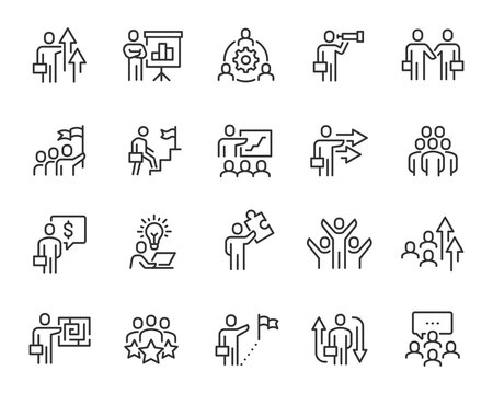 Business People Icons Set. Collection of simple linear web icons such Team, Growth, Idea, Goal, Schedule, Success, Leader and others Editable vector stroke.