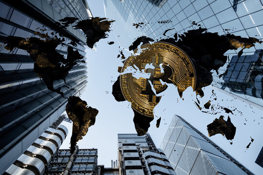 Bitcoin and Crypto Currencies pictured on a global map in corporate skyscraper background. Corporations, Institutions, hedge funds, pension providers are all starting to invest in digital assets