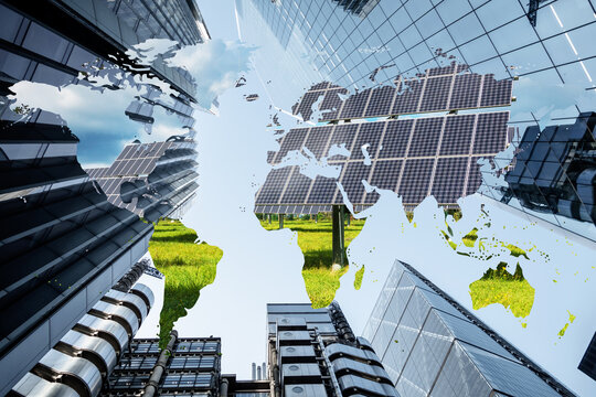 Concept piece showing Skyscrapers with global map and a scene of renewable energy, solar panels and wind farms. Depicts corporate business effort and responsibility to reduce carbon emissions globally