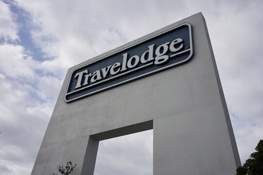 South San Francisco, CA, USA - Mar 1, 2020: The Travelodge sign at the Travelodge by Wyndham San Francisco Airport North Hotel. The Travelodge brand was one of the first motel chains in the US.