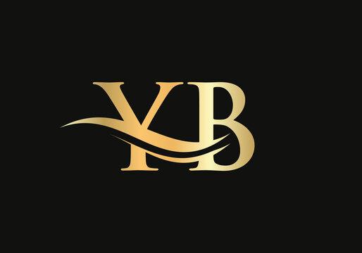 Premium YB letter logo design. YB Logo for luxury branding. Elegant and stylish design for your company.