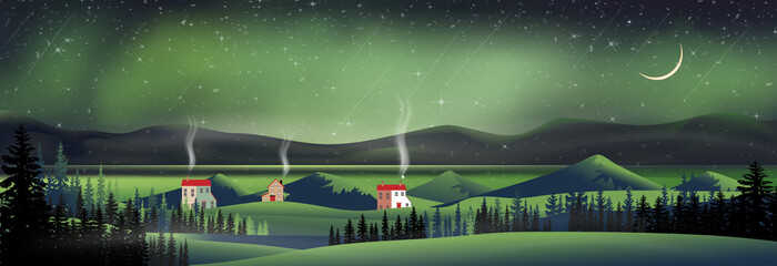Winter night with northern lights landscape in starry night with crescent moon, shining stars and comet falling over behind mountain and pine tree,Vector Night sky and spectacular aurora borealis