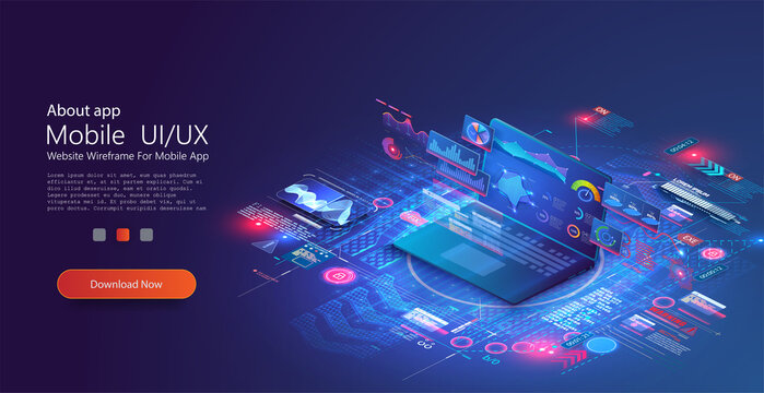 Application of laptop with business graph and analytics data on isometric laptop . Analysis trends and financial strategy by using infographic chart. Website UI/UX concept based isometric landing page