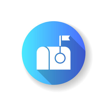 Mail blue flat design long shadow glyph icon. Receiving text document through internet. Getting letters from friends via email. Web interface ui items. Silhouette RGB color illustration