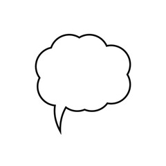 Fototapeta Cartoon speech or think bubble, empty communication cloud. Vector design element.