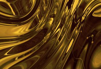 Wall Mural - abstracta, liquida, dorada, con textura, ilustración, olas,   café, brillante, oro, metal,