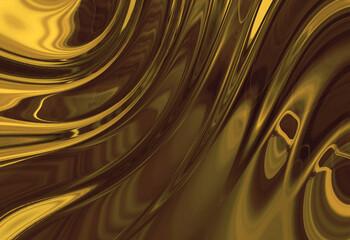 Wall Mural - abstracta, liquida, dorada, con textura, ilustración, olas,   café, brillante,