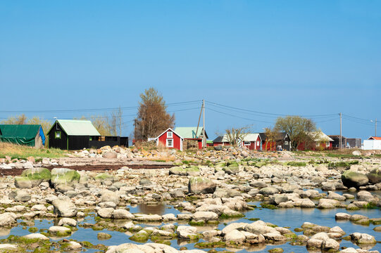 Fishermen's houses in the small fishing port of Blaesinge Hamn on the east coast of the island of Oeland in Sweden