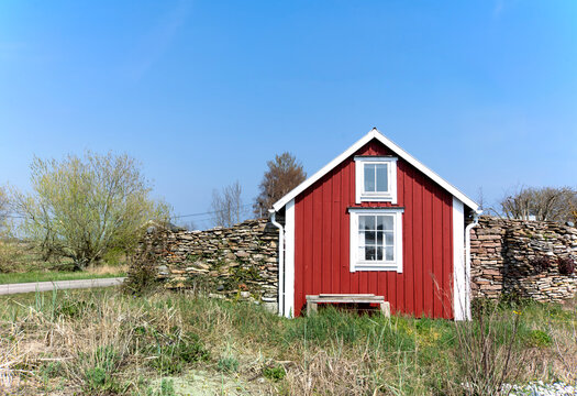 Typical fisherman's house in the small fishing port Blaesinge hamn on the east coast of the island of Oeland, Sweden