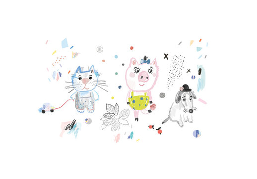 Artistic Poster with Cute Animals