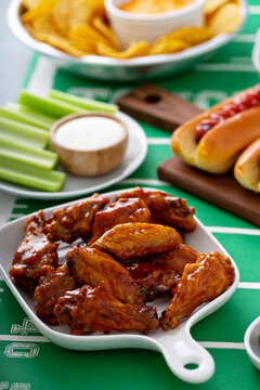 Game day food for Super Bowl, bbq sauce wings