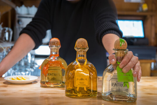 ARINSAL, ANDORRA - Dec 02, 2020: Patron brand quality tequila in a Mexican restaurant in Andorra in Winter 2020.