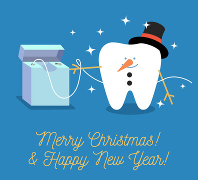 Tooth Snowman. Christmas greeting card from a dentist. Cartoon tooth with dental floss. Merry Christmas and a Happy New Year!
