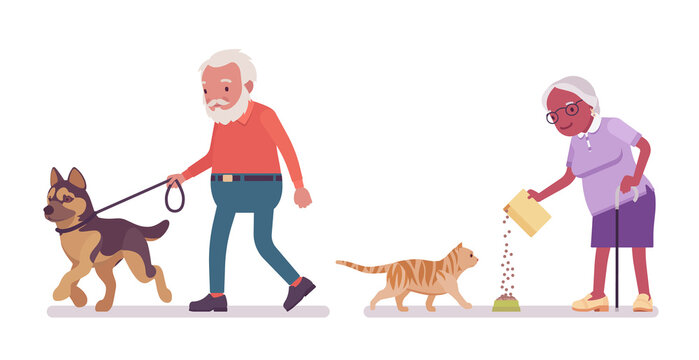 Old man, woman elderly person feeding cat, walking with dog. Senior citizens over 65 years, retired grandparent, old age pensioner. Vector flat style cartoon illustration isolated on white background