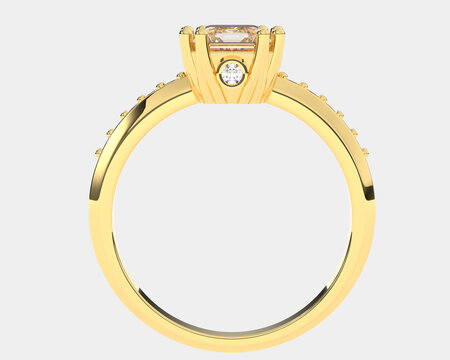 Gold ring isolated on white background. 3d rendering - illustration