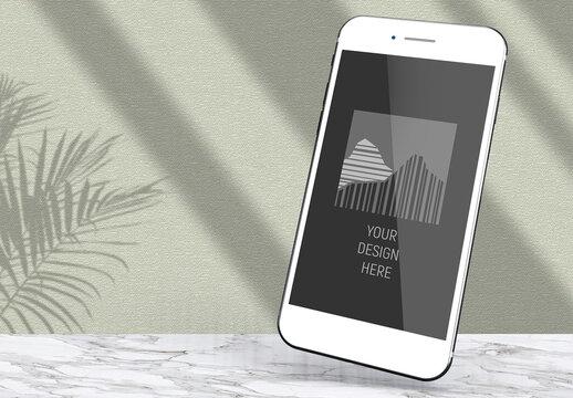 Levitating Elegant Vertical White Smartphone Screen Mockup