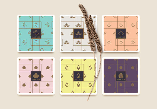 Logo Layouts and Seamless Patterns with Abstract Leaves