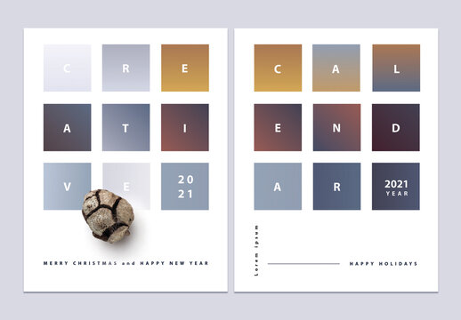 Minimal Christmas Calendar Cover Layout Set with Gradients