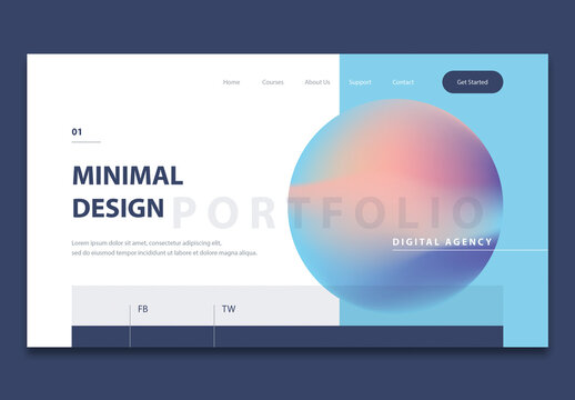 Minimal Website Header Layout with Gradient Circle