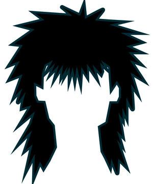 Mullet Eighties Haircut Vector Illustration
