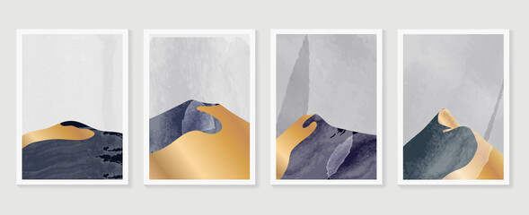 Luxury Gold Mountain wall art vector set. Earth tones landscapes backgrounds set with moon and sun.  Abstract Plant Art design for print, cover, wallpaper, Minimal and  natural wall art.  Fototapete