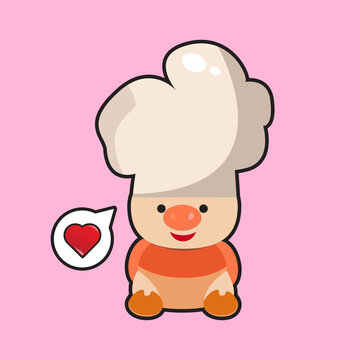 baby pigs as chef vector illustration eps 10
