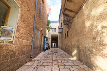 jerusalem, israel. Narrow alleys and ancient houses in the old Jewish quarter