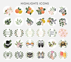 Wall Mural - Vector illustration of Instagram Highlights cover icons. Set of beautiful flowers and fruits. Design for bloggers