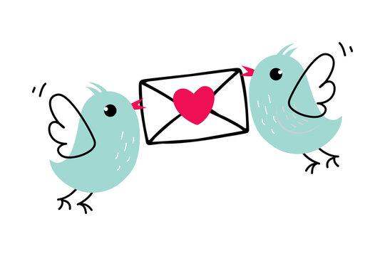 Little Birds Carrying Envelope with Love Letter as Valentine Day Celebration Vector Illustration