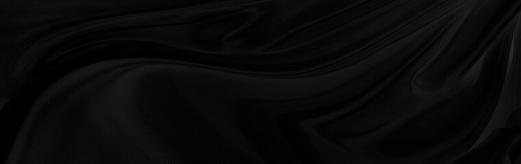 Black gray satin dark fabric texture luxurious shiny that is abstract silk cloth panorama background with patterns soft waves blur beautiful.
