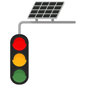solar powered traffic light. Vector illustration