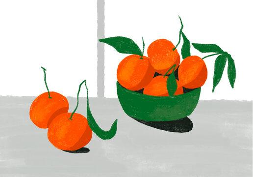 Mandarins in a green bowl