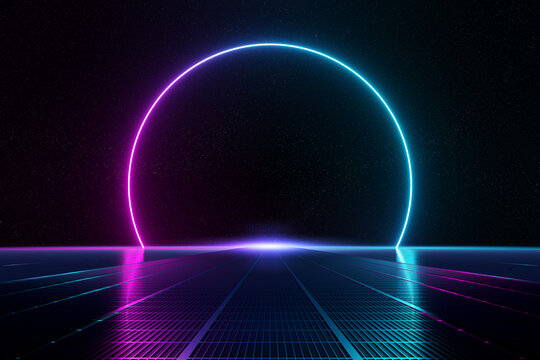 Abstract background pathway leading to blue and pink neon light circle reflecting on the floor 3D rendering