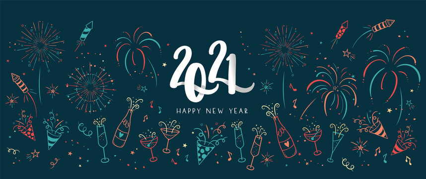 Lovely hand drawn new years doodles, great for party banners, wallpapers, image cover - vector design