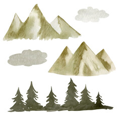 Watercolor drawing of fir trees, mountains, clouds isolated on white background.