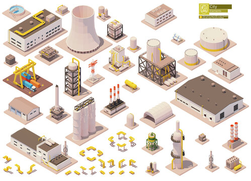 Vector isometric factory buildings and machinery set. Factory or plant buildings, equipment, pipes, chimney, tanks, crane, warehouse, industrial facilities. Isometric city map elements