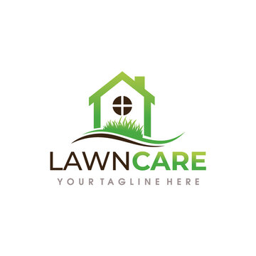 Lawn Care Logo. Lawn Services Logo Design Vector