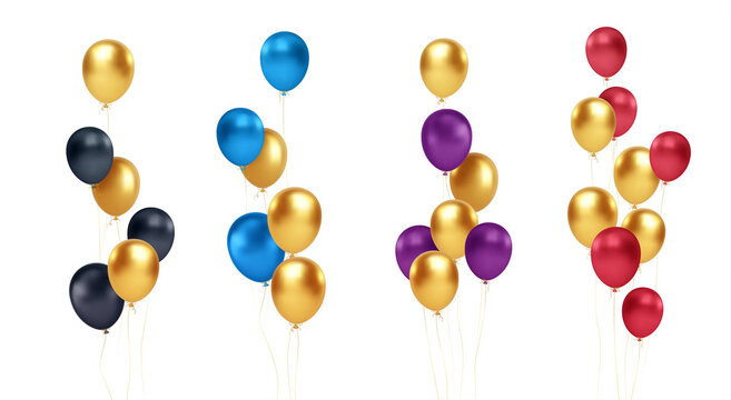 Set of festive bouquets of gold, blue, red, black and purple balloons isolated on white background. Vector illustration