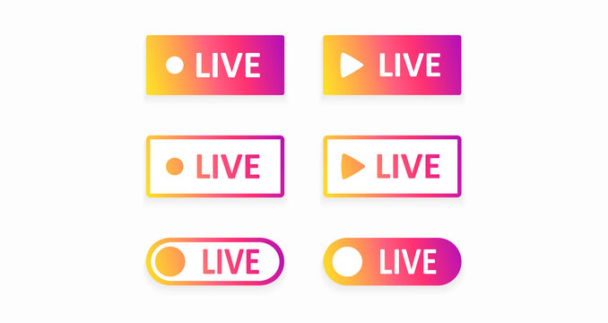 A set of bright Live buttons isolated on a white background. Vector illustration