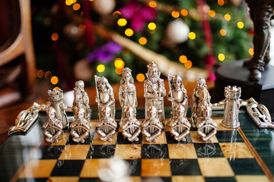 collectible chessboard with original game figures. retro style.
