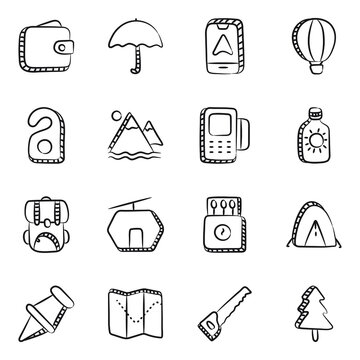 Travelling Accessories Doodle Icons Pack