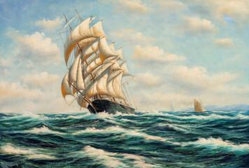 Fototapeta Sailing ship at sea. Oil painting picture