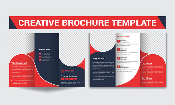 Creative trifold brochure template design with black and red accents