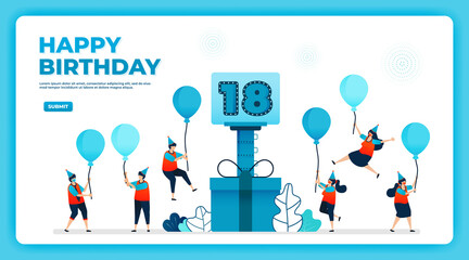 18th birthday vector illustration with health protocol. happy quarantine birthday party. birthday sign. online birthday card. For website, web, landing page, banner, mobile apps, UI UX, poster, flyer Wall mural