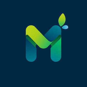 M letter green gradient eco logo.